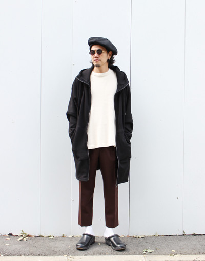 WARM LONG HOODIE (JUHA) x FRONT PLEATED PEGTOP (MARKAWARE)