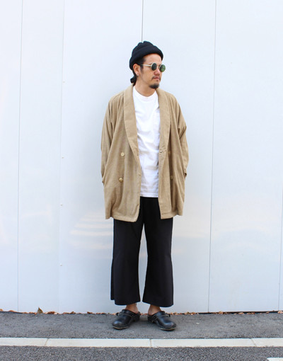 TF Double breasted(THING FABRICS) x ZIP SLIT WIDE PANTS(JUHA)