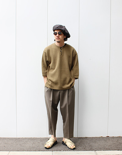 MOSS STITCH S/S SKIPPER(crepuscule) x 2 TUCK COCOON TAPERED FIT(marka)
