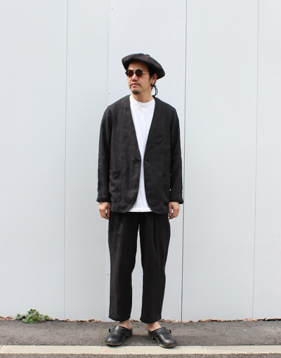 NO COLLAR SACK COAT(MARKAWARE) x TRACK PANTS(MARKAWARE)