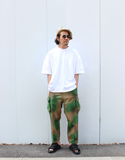 AMERICAN VINTAGE FABRIC POCKET T-SHIRT (is-ness) x WL ORIGINAL CAMO CARGO PANT(WHITE LINE)