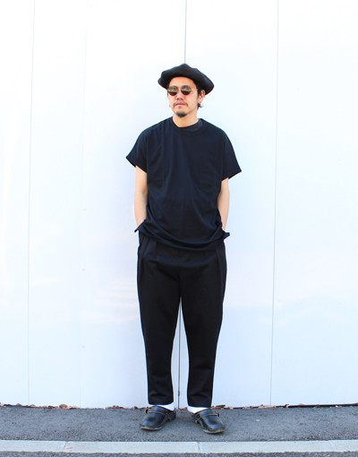 SHORT SLEEVE TEE(JUHA) x HIGH WAIST TUCK PANTS(JUHA)