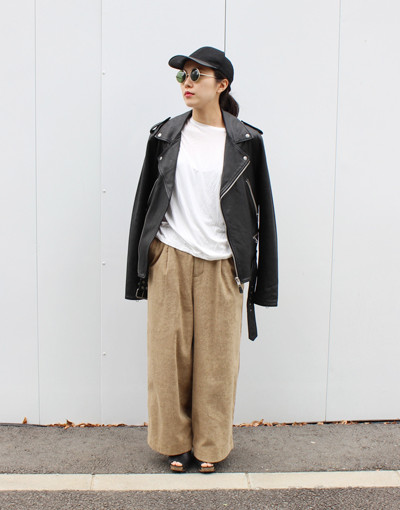 LOATHING BIKER(KSUBI) x TF Wide trousers(THING FABRICS)